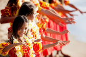 Young Hula dancer leads the troupe — Stockfoto