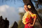 Happy Hula Girl at the beach — Stock Photo