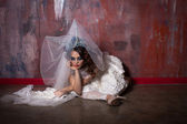The wedding is over beautiful sad bride — Stock Photo