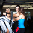 Stock Photo: Thre friends exercising at the gym on stair steppers
