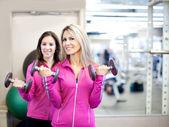 在健身房训练的漂亮女人 — 图库照片
