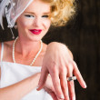 Happy proud Bride showing off her ring — Stock Photo