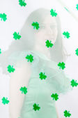 Opaque Portrait of a Beautiful Woman in Green and a shower of Sh — Stock Photo