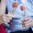 Champagne toast with Strawberries for two — Stock Photo