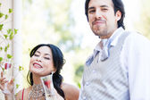 Happy couple drinking champagne with Strawberries — Stock Photo
