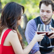 Beautiful Man and Woman drinking wine — Stock Photo #24120437