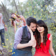 Royalty-Free Stock Photo: Couple in nature with Zombies