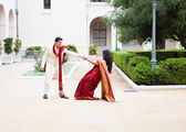 Attractive wedding couple — Stock Photo