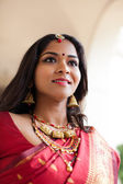 Elegant Indian Bride in Cathedral Hallway — Stock Photo