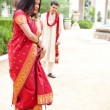 Beautiful  Indian bride dancing — Stock Photo