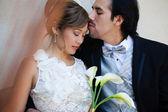 Tender moment between Bride and Groom — Stock Photo