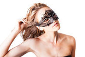 Beautiful Woman wearing a black Venetian rhine stoned mask Isolated on white — Stock Photo