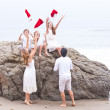 Christmas Family fun at the Beach in December — Stock Photo