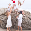 Christmas Family Portrait at the Beach — Stock Photo #31421979