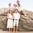 Christmas Family Portrait at the Beach — Stock Photo