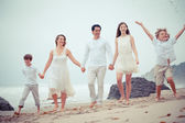Happy Healthy Famil at the beach vacationing in Malibu California — Stock Photo