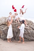 Christmas Family Portrait at the Beach — Stock Photo
