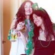 Pretty women celebrating St Patrick's Day — Stock Photo