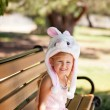 Pretty young girl in a Bunny hat — Stock Photo