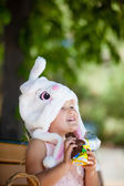 Cute toddler with Easter Candy — Stock Photo