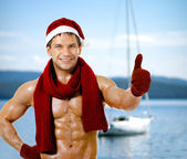 Sexy man Santa Claus — Stock Photo