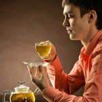 Man with tea — Stock Photo