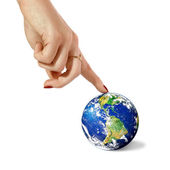 Hand and planet Earth — Stock Photo