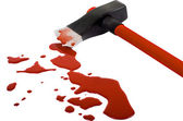 Axe and blood — Stock Photo