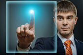 Businessman finger point touch  sensor panel — Stock Photo