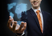 Businessman hold  reach out hand — Stock Photo