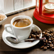 White cup with hot black coffee — Stock Photo #44632933