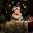 Baby girl solemnize Christmas — Stock Photo