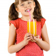 Little girl with multifruit juic — Stock Photo