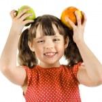 Little girl holding apples — Stock Photo #44634115