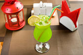Lemon freshener soft drinks with ice — Stock Photo