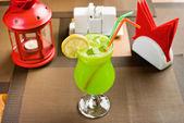Lemon freshener soft drinks with ice — Stock Photo