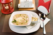 Plate with  cream soup — Stock Photo
