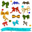 Stock Vector: Set of vintage bows.