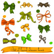 Set of vintage orange, green and brown bows. - Stock Vector