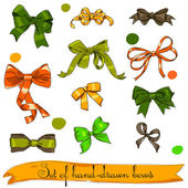 Set of vintage orange, green and brown bows. — Stock Vector