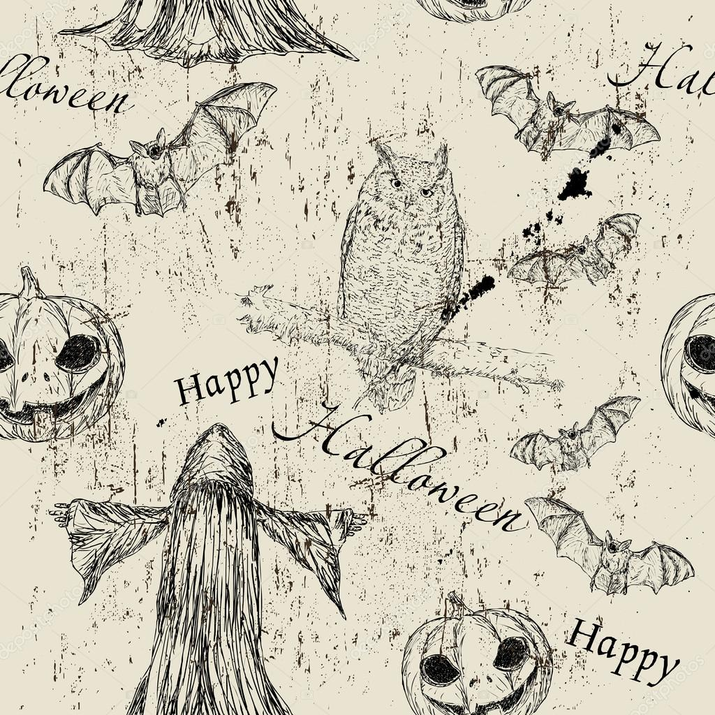 Halloween seamless texturewith pumpkin, owl and bat4. Vector illustration EPS8  Stock Vector #12933174