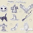 Set of Halloween stickers. - Stock Vector