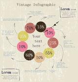 Retro infographic with ink arrows. — Vector de stock