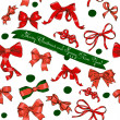 Seamless texture with Chrestmas red bows — Stock Vector