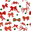 Seamless texture with Chrestmas red bows - Stock Vector