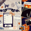 Vintage Halloween scrapbooking set. — Stock Vector
