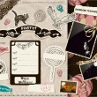 Vintage Halloween scrapbooking set. — Stock vektor