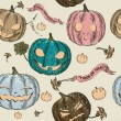 Halloween seamless background with pumpkin. — Stok Vektör