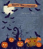 Poster di halloween invito con simpatico mostro. — Vettoriale Stock