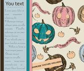Tarjeta de halloween y textura sin fisuras con calabazas. — Vector de stock